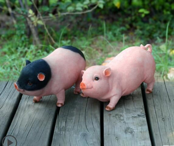 Garden decoration courtyard ornaments creative gifts miniature pig models resin crafts animal simulation pig portraits statue