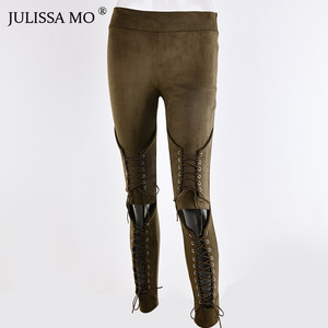 Image 4 - JULISSA MO Suede Bodycon Bandage Pants Women Autumn Winter Legging Sexy Slim Club Party Trousers Women Ladies Pencil Pants 2020