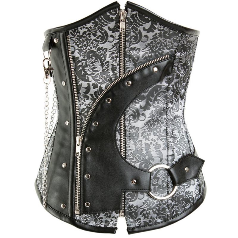 New Steel Boned Zipper Grey Vintage Steampunk Underbust   Corset   Corselet Women Gothic Short   Bustiers  &  Corsets   For Waist slimming