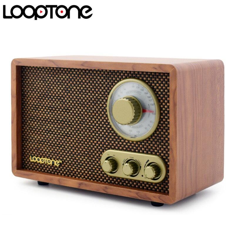 LoopTone Table AM/FM Salut-fi Radio Vintage Rétro Classique Radio W/Built-In Haut-Parleur Des Aigus et Contrôle des Basses Main-conçu Bois