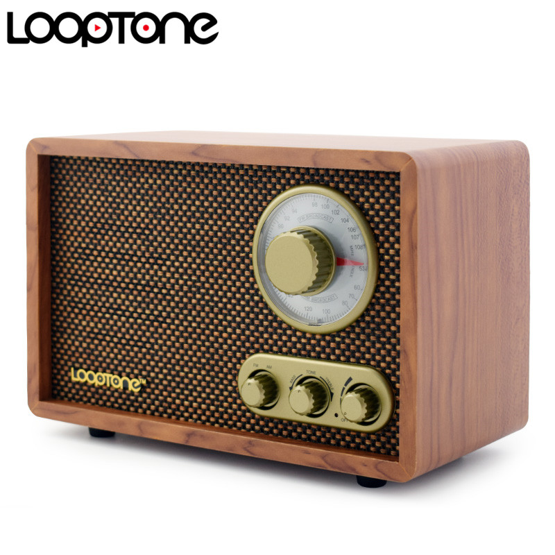 LoopTone Tabletop AM/FM Hi-Fi Radio Vintage Retro Classic Radio W/ Built-in Speaker Treble&Bass Control Hand-crafted Wood