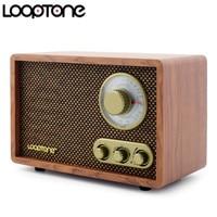 LoopTone Tabletop AM/FM Hi Fi Radio Vintage Retro Classic Radio W/ Built in Speaker Treble&Bass Control Hand crafted Wood