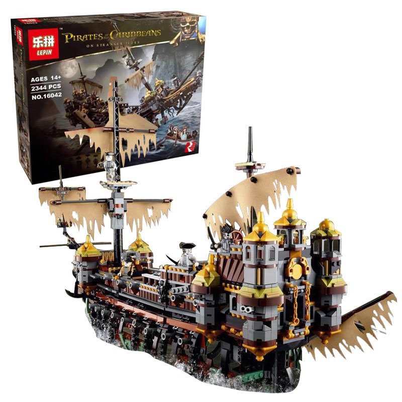 Lepin 16042 2344Pcs New Pirate Ship Series The Slient Mary Set Children Educational Building Blocks Bricks Toys Gift With 71042 lepin 16018 756pcs genuine the lord of rings series the ghost pirate ship set building block brick toys compatible legoed 79008