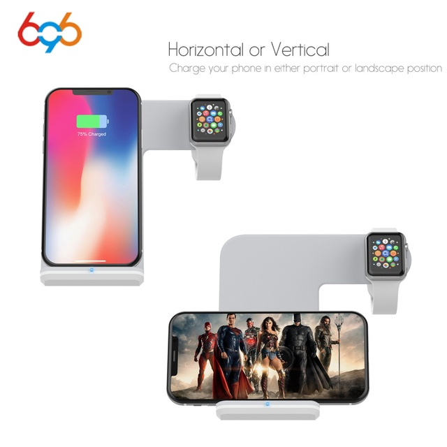 competitive price 5c00a 13d2c US $23.09 30% OFF|696 F11 2 In 1 Fast Charging Wireless Charger untuk Apple  Watch 2 3 QI Wireless Charger untuk iPhone X 8 Plus untuk SamsungS9 S8 ...
