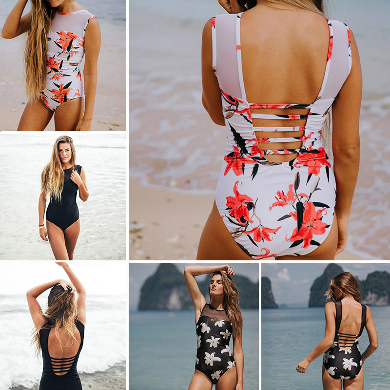 2017 Backless Sexy Gauze Halter women swimwear one piece swimsuit Black red Solid women bathing suits Beach Wear Swim Print trendy solid color halter pleated one piece skirt swimwear for women