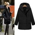 2016 de Algodón de invierno por la chaqueta mujeres abrigo largo Femenino engrosamiento Ropa de Abrigo con Sombrero Negro y Gris de Las Mujeres Outwear Plus tamaño