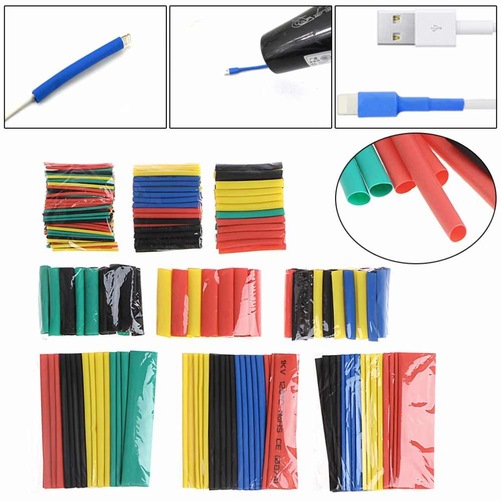 328 Pcs/Set 2:1 Polyolefin Heat Shrink Tubing Tube Sleeve Wrap Wire 8 Size 5 Colors