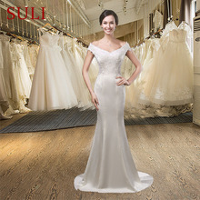 SuLi SL-012 Sexy Lace Champagne Satin Mermaid Wedding Dress