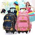 Fashion flash 2/6 Wheels Girls Waterproof School Bag Boy Backpack Trolley Bag Children School Bags Kids Wheeled Bags Girls Backp