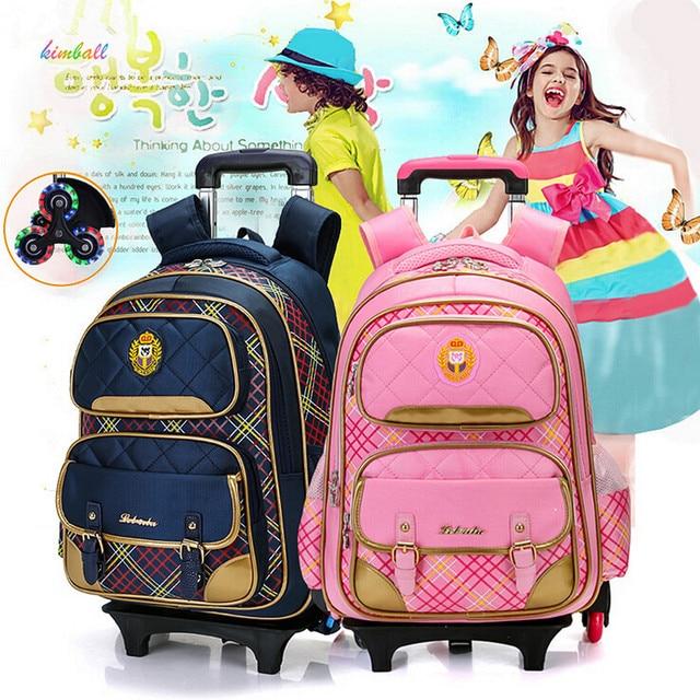 77ea492bec11 Fashion flash 2 6 Wheels Girls Waterproof School Bag girls Boy Backpack  Trolley Bag Children School Bags Kids Wheeled Bags