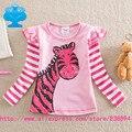 Bandeiras 2016 new kid t-shirt da menina do bebê roupas roupa infantil manga longa camiseta bonito dos desenhos animados crianças roupa do desgaste topo T2601 #