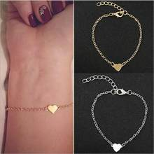 On Sale Promotion Dainty Minimalist Heart Alloy Bracelet Women hand chain Bijoux Jewelry Gift B3007(China)