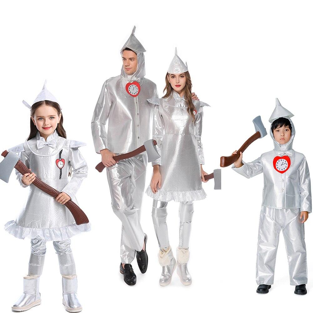 Deluxe sihirbazı OZ teneke adam kostüm çocuklar yetişkin cadılar bayramı masal performans parti Cosplay erkek kız fantezi parti elbise kıyafet