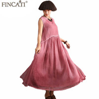 FINCATI Boho Dress Women Summer Silk Feeling Cotton Linen Double Layers with Pocket Natural dye Soft Loose Flowy Dresses