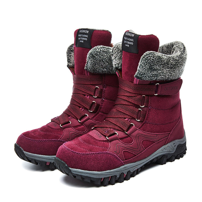 2019 New Women Boots High Quality Leather Suede Winter Boots Women Keep Warm Lace up Waterproof Snow Boots Botas mujer