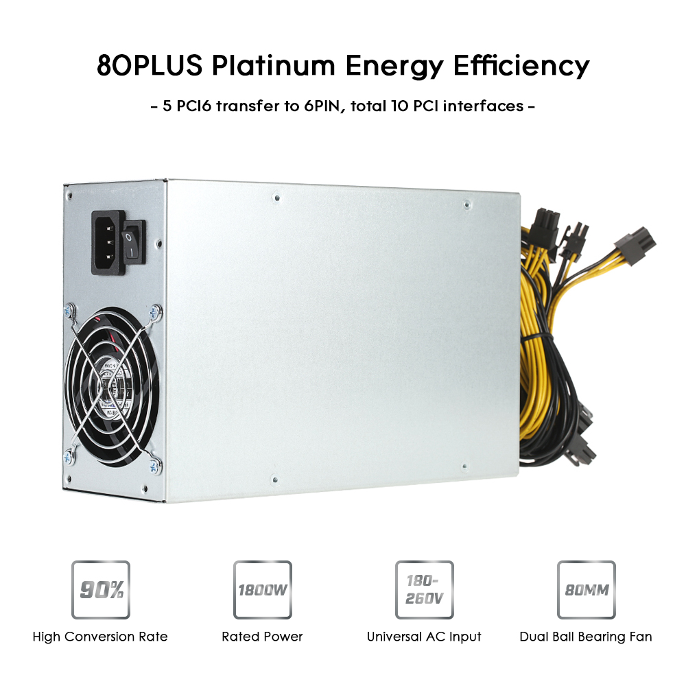 1800W Switching Server Power Supply 90% High Efficiency Professional Mining Machine Power Source for Ethereum S9 S7 L3 Rig 1800w switching power supply equipment 90 percent high efficiency power supply unit for ethereum s9 s7 l3 rig mining 180 260v