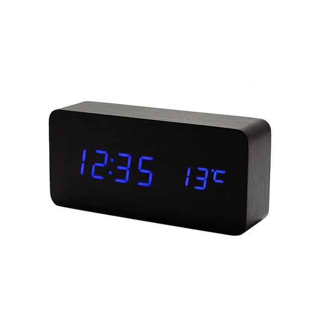Mrosaa LED Digital Clocks Temperature Sounds Control Wooden Alarm clock Desktop digital Calendar Display Table Electronic Clock