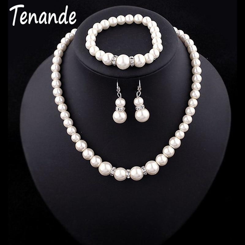 Tenande Luxueux Grande Déclaration Cristal Simulé Perle Colliers Bracelets Boucles D'oreilles pour Les Femmes De Mariée Ensembles De Bijoux De Mariage Femme 1