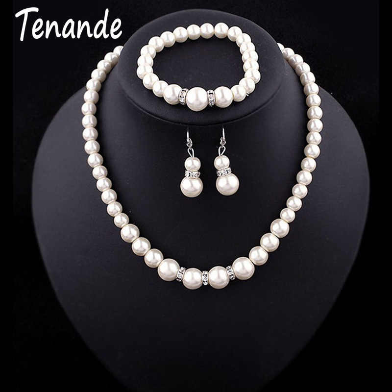 Tenande Luxurious Big Statement Crystal Simulated Pearl Necklaces Bangles Earrings for Women Bridal Wedding Jewelry Sets Femme