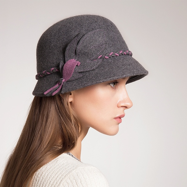 unique Cloche hats for women high quality Australia wool felt hat cut  design Autumn Winter new ladies fedora cap FW049024 2c10259be59