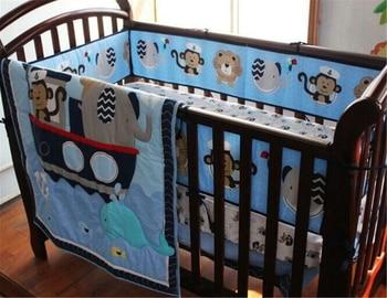 цена на 4pcs Sailors & Ocean Cotton Baby Crib Cot Bedding Quilt Bumper Sheet Dust Ruffle Baby Girl Bed Set Baby Crib Set Bedding Sets
