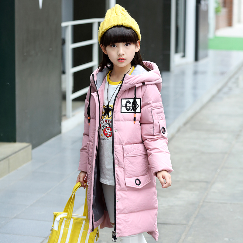 Girl winter down Jackets Children in the long section down jacket baby 100% thick duck Down cold -30 degree jacket 30# fashion 2017 girl s down jackets winter russia baby coats thick duck warm jacket for girls boys children outerwears 30 degree