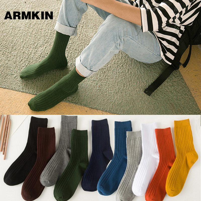 ARMKIN 10 Colors Socks Men High Quality Combed Cotton Pure Color Skarpety Casual Calcetas