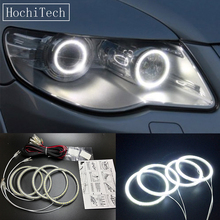 цена на HochiTech Ultra bright SMD white LED angel eyes 12V halo ring kit daytime running light DRL for Volkswagen VW Touareg 2007-2010
