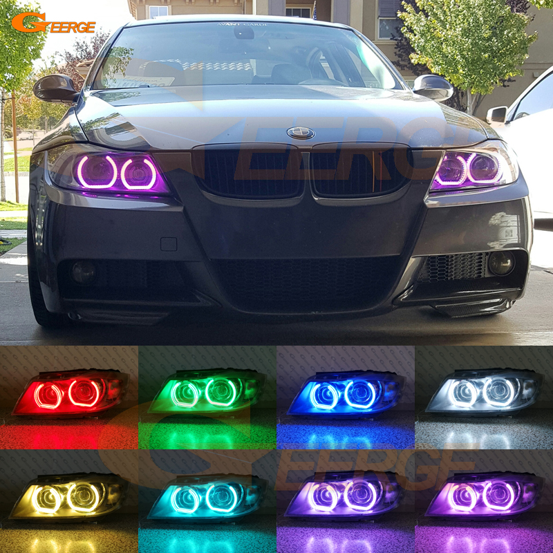 For BMW 3 Series E90 E91 2006 2007 2008 Xenon headlight Excellent DTM Style Multi-Color RGB LED Angel Eye kit for bmw 3 series f30 f31 f34 2012 2013 2014 2015 2016 halogen headlight excellent dtm style multi color rgb led angel eye kit
