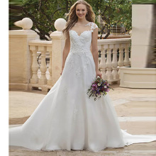 Elegant Princess Boho A Line Wedding Dress Sheer O Neck Illusion Back Cap Sleeve Appliqued Lace Train Bridal Gown Free Shipping