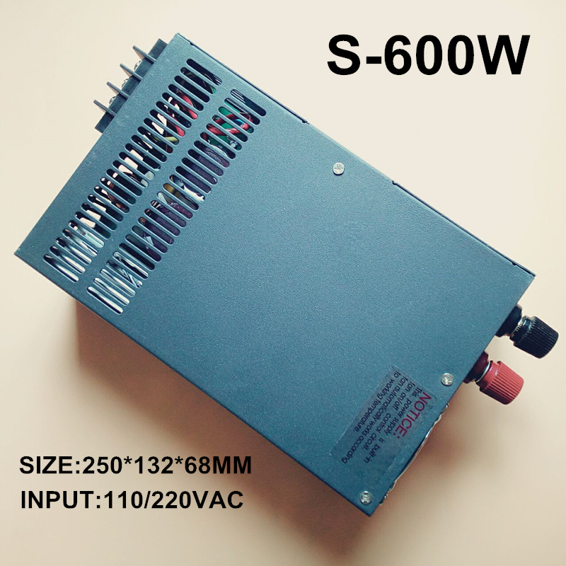 switching power supply 12V  50A 600W 110~230VAC single output input  for cnc cctv led light(S-600W-12V)