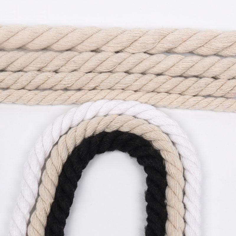 Novo 10 metros 6mm/8mm/10mm/12mm 3 ações trançado 100% algodão cordas diy artesanato decoração corda de algodão cabo de algodão para saco cordão cinto