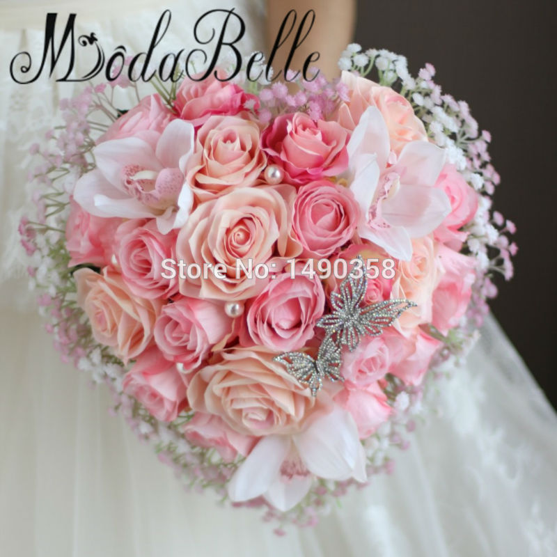 Heart shaped Rose Artificial Bridal Bouquets Hand Flower Butterfly ...