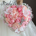 Heart-shaped Rose Artificial Bridal Bouquets Hand Flower Butterfly Brooch Wedding Bouquet Pink Pearl Bruidsboeket Voor Bruiden