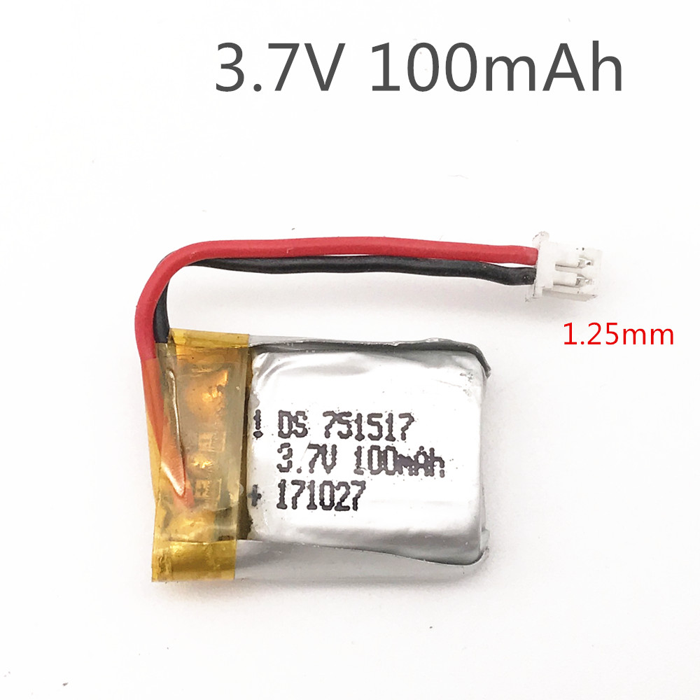 3.7V 100mAH 751517 1.25mm Plug Lipo Battery For Drone DIY Cheerson CX-10 10C Remote Control  Helicopter Lipo 3.7 V 100 MAH