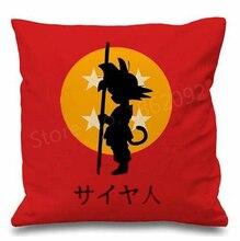 Dragon Ball Z Goku Cushion Cover Red Dragon Ball Decorative Throw Pillow Case Kid Boy Gifts Car Seat Cushion Cases Room Decor