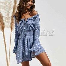 Cuerly Ruffled polka dot short party dress women Autumn summer elegant casual female vestidos Daily sexy chic dresses L5