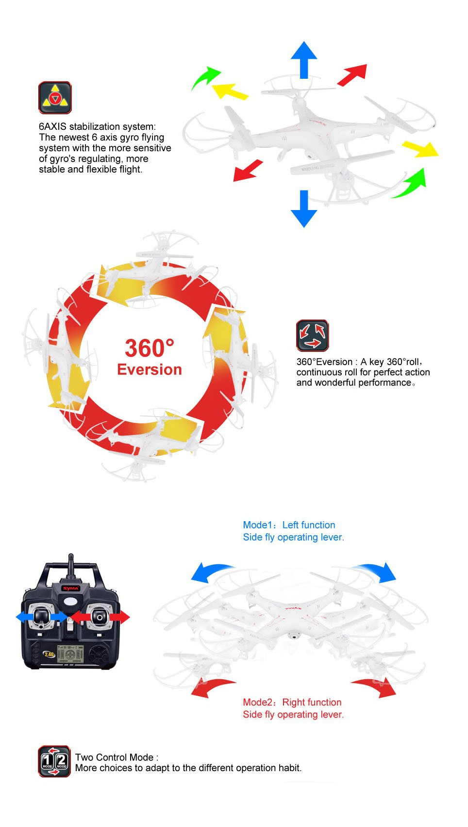 SYMA X5C (Upgrade Version) RC Drone 6-Axis Remote Control Helicopter Quadcopter With 2MP HD Camera or X5 RC Dron No Camera 3