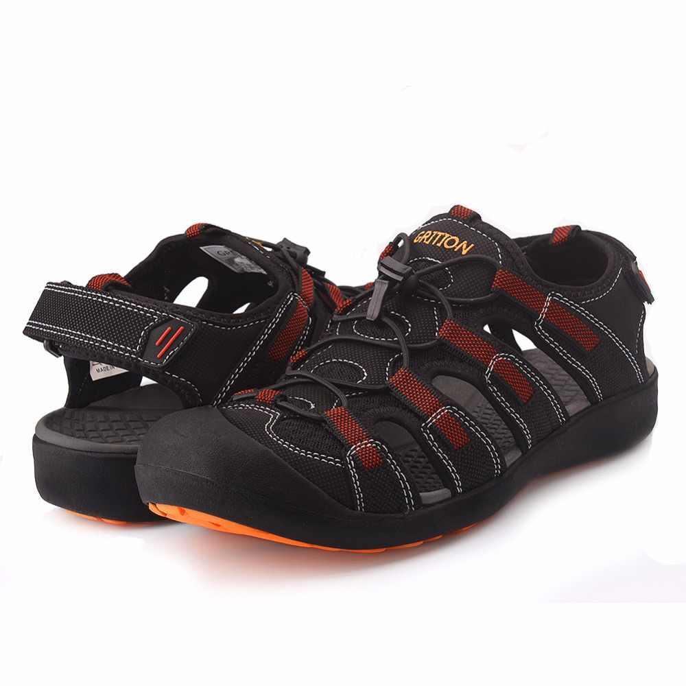 de29297fb ... GRITION/мужские сандалии, летние уличные сандалии, удобные кожаные  походные туфли, пляжные повседневные ...