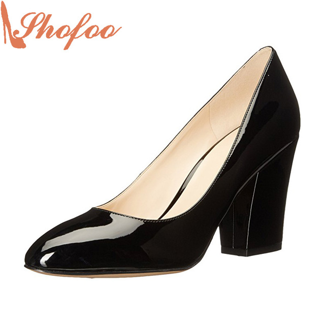 691b1a4adf Women Classic Black Patent Leather High Square Heels Pumps Woman Dress  Superstar Shoes Top Quality Large Size 12 16 Shofoo