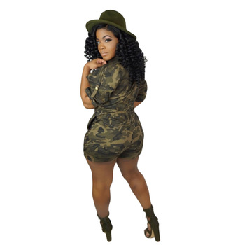 Plus Size Women Playsuit 2019 Casual Camouflage Print Shorts Jumpsuits Short Sleeve Pockets Button Sexy V Neck Club Party Romper 1