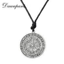 Dawapara Valknut Odin's Symbol of Norse Cross Runes Jewelry Warrior Scandinavian Amulet Collares Ethnic Viking Necklace Men