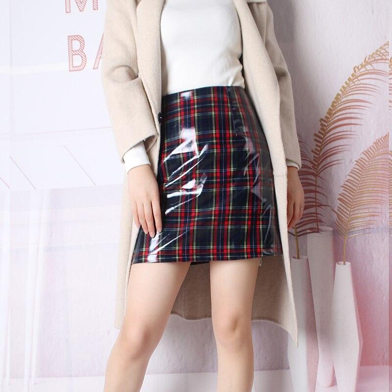 Cuir Plissée Plaid Pvc Jupes Mujer Moda Mot Haute Taille Rétro Holographique Femmes 2018 Faldas En Jupe Un Harajuku qS7AwP