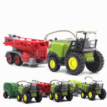 Boys Toys Car Hauler Tractor Farm Vehicle Fire Truck Diecast 1:32 Model Mini Kids For Children Bulldozer