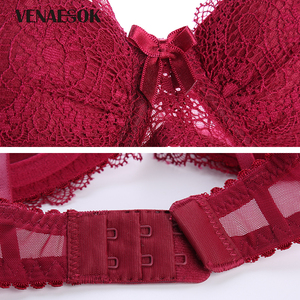 Image 5 - Deep V Brassiere Super Gather Black Lingerie Push Up Bra Set Women Thick Sexy Bra Panties Set Embroidery Lace Underwear Sets