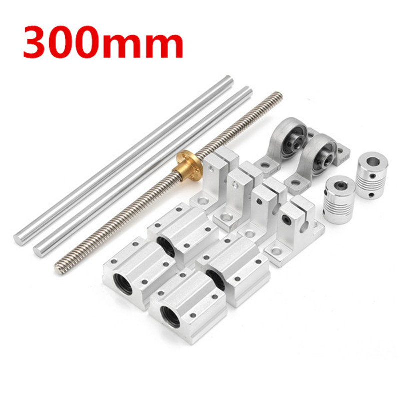 SULEVE New 15pcs 300mm CNC Parts Steel OpticalAxis Guide Bearing Housings Rail Shaft Support Lead Screws Rod Slide Bushing Set-in Linear Guides from Home Improvement    2