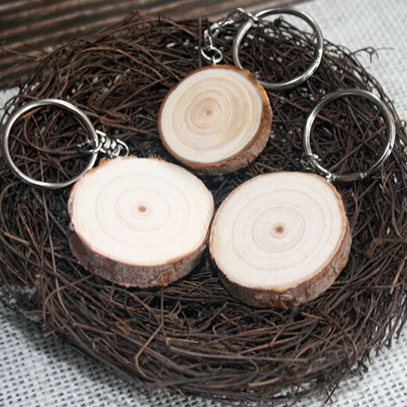 Unisex Wood Keychains Retro Vintage Key Chains Diy Car Key Rings Bag Charms
