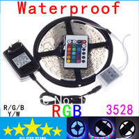 Waterproof 3528 RGB LED Strip 5M 300 Led SMD IR Remote Controller 12V 2A Power Adapter Flexible Light Free Shipping