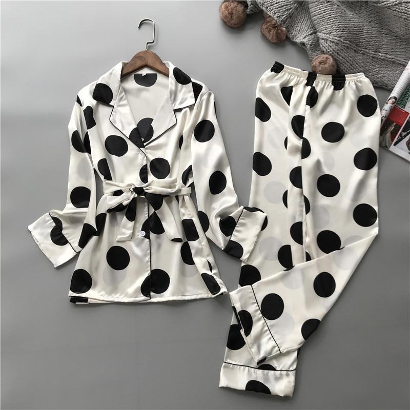 JRMISSLI Women Pajamas Satin Sleepwear Pijama Home Wear Silk Pyjama Home Suit Dot Print Sweet Home Clothing Sleep Lounge