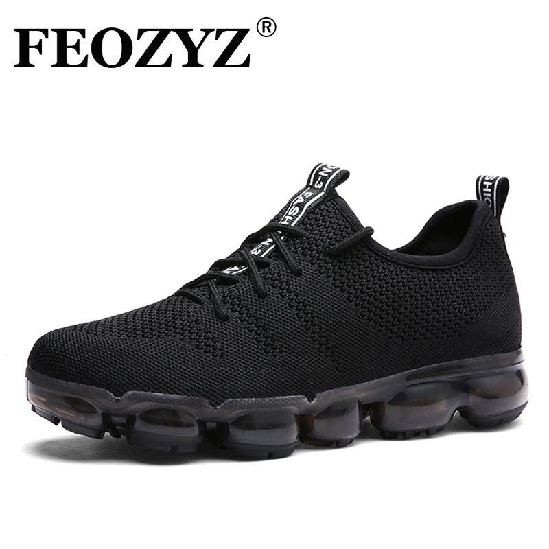 FEOZYZ 2018 New Knit Running Shoes For Men Full Palm Air Cushion Mens Sneakers Zapatillas Hombre Deportiva Sport Shoes